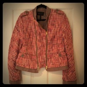 BCBGMAXAZRIA tweed blazer with gold zipper accents